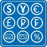Finanze e pacchetto delle icone dei forex Fotografia Stock Libera da Diritti
