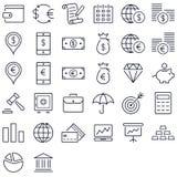 Finanze ed insieme dell'icona dei soldi Immagini Stock