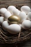 Finanzerfolg, der das goldene Ei und die Stellung heraus von der Mengennahaufnahme findet Lizenzfreie Stockfotos