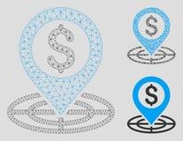 Finanzfadenkreuz-Vektor Mesh Network Model und Dreieck-Mosaik-Ikone lizenzfreie abbildung