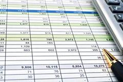 Finanzformulare mit Stift und Taschenrechner. Stockbilder