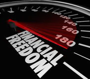 Finanzfreiheits-Geschwindigkeitsmesser-Einkommen-Einkommens-Geld-Einsparungen Stockfotos