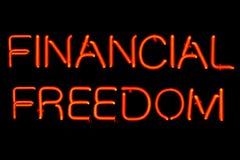 Finanzfreiheits-Neonzeichen Stockfotografie