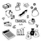 Finanzgekritzel Handzeichnungsarten für Finanz Stockfotos