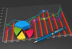 Finanzgeschäftsdiagramm und -diagramme lizenzfreie abbildung
