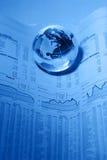 Finanzhintergrund mit Erde Stockfotos