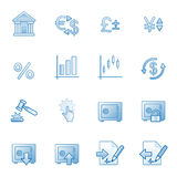 Finanzi le icone di Web, serie blu Immagini Stock Libere da Diritti