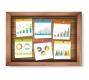 Finanzi le note e immediatamente il grafico di affari sul bordo di legno illustrazione di stock