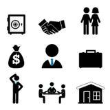 Finanzia le icone Fotografie Stock Libere da Diritti