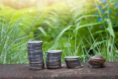 Finanziell vom Geld und von der Schnecke stockfotografie