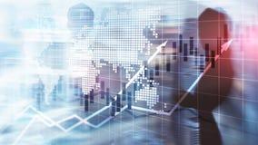 Finanziellbörse stellt Kerzen-Diagramm-ROI Return On Investment Business-Konzept grafisch dar stockfoto