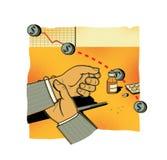 FINANZIELLE RISIKEN Fallende Aktienindexe Ein Mann in den Kontrollen einer Klage seine Hand mit einem Impuls Medizin und Tablette stock abbildung