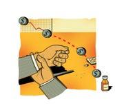 FINANZIELLE RISIKEN Fallende Aktienindexe Ein Mann in den Kontrollen einer Klage seine Hand mit einem Impuls Medizin und Tablette lizenzfreie abbildung