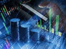 Finanziellmobilehandel des börseaustausches online, Internet-BU Stockbilder