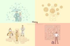 Finanziere, banchiere, consulto finanziario, assistenza, commercio e modello dell'insegna di profitto di commercio illustrazione di stock