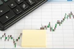 Finanzieren Sie Diagramm auf einem weißen Hintergrund mit Taschenrechner, Bleistifte, Aufkleberkopienraum Lizenzfreie Stockfotos