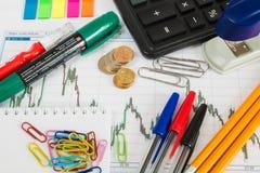 Finanzieren Sie Diagramm auf einem weißen Hintergrund mit Taschenrechner, Münzen, Stiften, Bleistiften und Büroklammern Lizenzfreie Stockfotografie