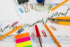 Finanzieren Sie Diagramm auf einem weißen Hintergrund mit Taschenrechner, Münzen, Stiften, Bleistiften und Büroklammern Lizenzfreie Stockbilder