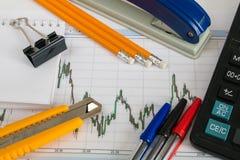 Finanzieren Sie Diagramm auf einem weißen Hintergrund mit Taschenrechner, Münzen, Stiften, Bleistiften und Büroklammern Stockfotos
