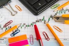 Finanzieren Sie Diagramm auf einem weißen Hintergrund mit Taschenrechner, Münzen, Stiften, Bleistiften und Büroklammern Lizenzfreies Stockbild