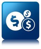 Finanziert blauen quadratischen Knopf der Dollarzeichen-Ikone Lizenzfreie Stockfotos