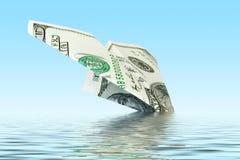 Finanziert Krise. flaches Wrack des Geldes Stockfoto