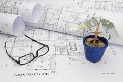 Finanzierung des Traumhaus-Bauvorhabens Lizenzfreie Stockfotos