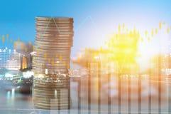 Finanzierung, Hauptbankwesen und Investitionskonzept, doppeltes exporsur stockbild