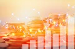 Finanzierung, Hauptbankwesen und Investitionskonzept, doppeltes exporsur lizenzfreies stockfoto