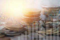 Finanzierung, Hauptbankwesen und Investitionskonzept, doppeltes exporsur lizenzfreie stockfotografie