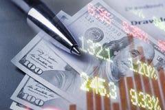 Finanzierung, Konzept ein Bankkonto habend Euromünzen, US-Dollar Banknotennahaufnahme Abstraktes Bild des Finanzsystems mit selek Stockbilder
