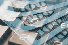 Finanzierung, Konzept ein Bankkonto habend Euromünzen, US-Dollar Banknotennahaufnahme Abstraktes Bild des Finanzsystems mit selek Stockfotografie