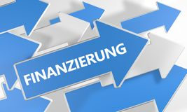 Finanzierung text concept. Finanzierung - german word for funding or financing - text concept with blue and white arrows flying over a white background. 3d Royalty Free Stock Image