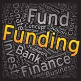 Finanzierung, Wortwolken-Kunsthintergrund Stockfoto