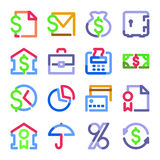 Finanzikonen. Farbenformserie. vektor abbildung