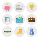 Finanzikonen im flachen Entwurf Stockbild