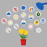 Finanzinvestitions-und Einsparungens-Konzept mit Dusch-und Geld-Baum Lizenzfreies Stockfoto