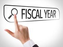 Finanzjahr geschrieben in Suchstange auf virtuellen Schirm Lizenzfreie Stockbilder