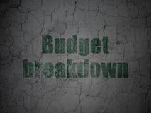 Finanzkonzept: Budget-Zusammenbruch auf Schmutzwandhintergrund lizenzfreie abbildung