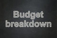Finanzkonzept: Budget-Zusammenbruch auf Tafelhintergrund lizenzfreies stockbild
