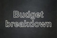 Finanzkonzept: Budget-Zusammenbruch auf Tafelhintergrund lizenzfreies stockfoto
