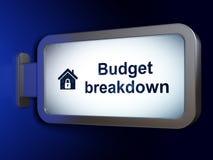 Finanzkonzept: Budget-Zusammenbruch und Haus auf Anschlagtafelhintergrund vektor abbildung