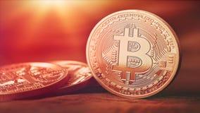 Finanzkonzept des Gold 3D mit goldenem Bitcoins stock video footage