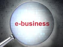 Finanzkonzept: E-Business mit optischem Glas Stockfotos