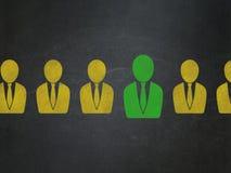 Finanzkonzept: Geschäftsmannikone auf Schulbehörde Lizenzfreies Stockfoto