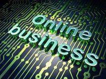 Finanzkonzept: On-line-Geschäft auf Leiterplattehintergrund Lizenzfreie Stockfotos
