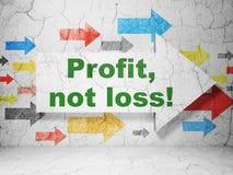 Finanzkonzept: Pfeil mit Gewinn, nicht Verlust! auf Schmutzwandhintergrund Lizenzfreie Stockfotos