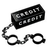 Finanzkonzept: Schwarze Fesseln mit Wortkredit Stockbilder