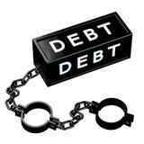 Finanzkonzept: Schwarze Fesseln mit Wortschuld Stockfoto