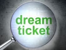 Finanzkonzept: Traumkarte mit optischem Glas Stockfotos